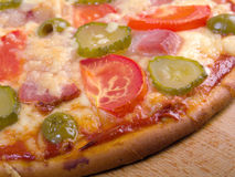 Pizza ham and vegetable Royalty Free Stock Photography