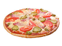Pizza ham and vegetable Stock Images