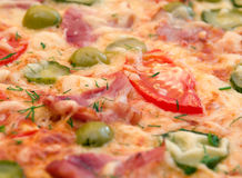 Pizza ham and vegetable Royalty Free Stock Photo
