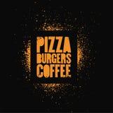 Pizza, hamburger, caffè Manifesto tipografico di lerciume di stile di arte della via dello stampino per il caffè, bistrot, pizzer illustrazione di stock