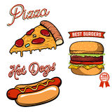 Pizza, hamburger, illustrations de hot dog dans le rétro style d'isolement dessus Photos libres de droits
