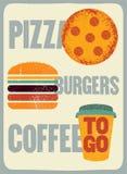 Pizza, hamburgueres, café Cartaz tipográfico do grunge do vintage para o café, restaurante, pizaria Ilustração retro do vetor Foto de Stock Royalty Free