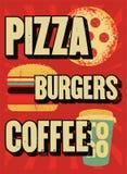 Pizza, hamburgueres, café Cartaz tipográfico do grunge do vintage para o café, restaurante, pizaria Ilustração retro do vetor Imagem de Stock