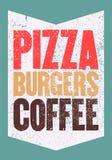 Pizza, hamburguesas, café Cartel tipográfico del grunge del vintage para el café, bistro, pizzería Ilustración retra del vector stock de ilustración