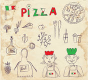 Pizza hand drawn elements - retro design Stock Images