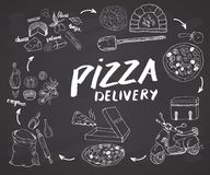 Pizza hand drawn sketch set. Pizza preparation and delivery process with flour and other food ingredients, paper box, oven and kit Royalty Free Stock Photography