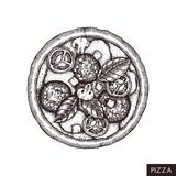 Pizza hand drawn sketch. Vector food drawing. Engraving style Pizza with spicy salami. Italian kitchen illustration. royalty free illustration