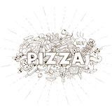 Pizza hand drawn title design vector Stock Images