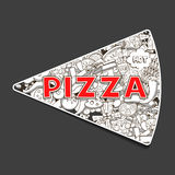 Pizza hand drawn title design vector illustration Royalty Free Stock Image