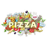Pizza hand drawn title design vector illustration Royalty Free Stock Photo