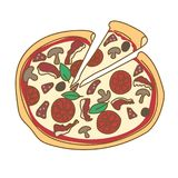 Pizza hand drawn doodle color illustration Royalty Free Stock Photography