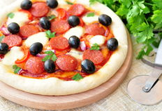 Pizza handmade with Salami, Mozzarella, Olives, Onion and Tomato Sauce Stock Photos