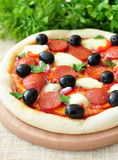 Pizza handmade with Salami, Mozzarella, Olives, Onion and Tomato Sauce Stock Images