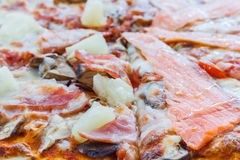 Pizza hawaiana y de color salmón de la pizza Imagen de archivo libre de regalías