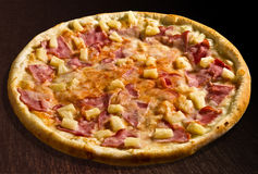 Pizza Hawaii With Ham, Corn And Pineapple - Isolat Royalty Free Stock Images