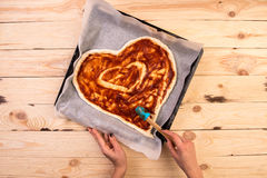 Free Pizza Heart Love Valentine`s Day Romantic Italian Restaurant Dinner Food. Prosciutto, Olives, Tomatoes, Parsley, Basil Stock Photography - 85778422