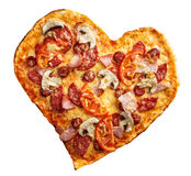 Pizza heart shape isolated over white background Royalty Free Stock Photo