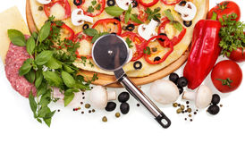 Pizza with herbs Stock Photo
