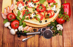 Pizza with herbs and spices Royalty Free Stock Images