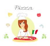 Pizza hermosa de la porción de la mujer Fotografía de archivo