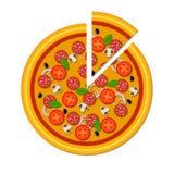 Pizza hermosa del ejemplo en formato del vector Fotografía de archivo libre de regalías