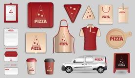 Pizza het brandmerken ontwerp vectorreeks royalty-vrije illustratie