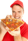 Pizza in his hands Stock Image