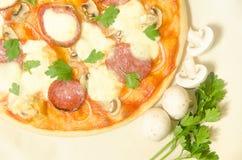 Pizza home com salame e mozzarella com cogumelos e Foto de Stock