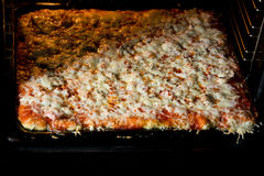 Pizza homemade right from the oven Royalty Free Stock Photos
