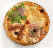 Pizza Hoogste mening royalty-vrije stock afbeelding