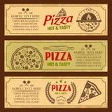 Pizza Horizontal Vintage Style Banners Set Stock Photos