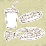 Pizza and Hot Dog Stock Photo