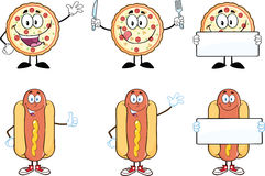 Pizza and Hot Dog Cartoon Characters. Collection Set Stock Image