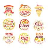 Pizza house, menu premium quality logo templates set of colorful vector Illustrations Stock Image