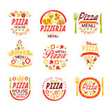 Pizza house, pizzeria premium menu logo templates set of colorful vector Illustrations. Isolated on white background royalty free illustration