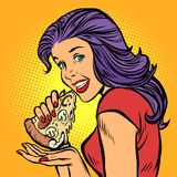 Pizza. Hungry Woman Eating Fast Food Royalty Free Stock Photos