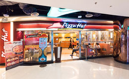 Pizza Hut-restaurant in MBK-centrum, Bangkok Stock Foto's