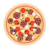 Pizza i en plan design på en vit bakgrund också vektor för coreldrawillustration Fotografering för Bildbyråer