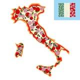 Pizza i form av en översikt av Italien Ingredienser: korv ost a Royaltyfria Foton