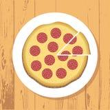 Pizza i pizza plasterek na bielu talerzu na drewnianym stole textured tło, wektor zdjęcie royalty free
