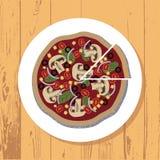 Pizza i pizza plasterek na bielu talerzu na drewnianym stole textured tło, wektor fotografia royalty free
