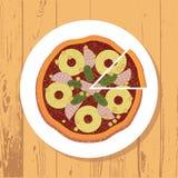 Pizza i pizza plasterek na bielu talerzu na drewnianym stole textured tło, wektor obraz stock