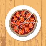 Pizza i pizza plasterek na bielu talerzu na drewnianym stole textured tło, wektor fotografia stock