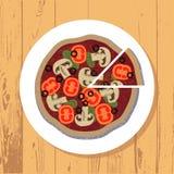 Pizza i pizza plasterek na bielu talerzu na drewnianym stole textured tło, wektor zdjęcie stock