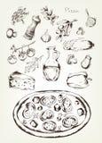 Pizza i składniki, wektorowa ilustracja Zdjęcia Royalty Free