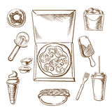 Pizza, ice cream and fast food snacks Royalty Free Stock Images