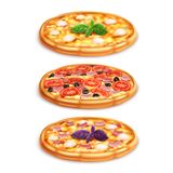 Different pizza set. Margarita pizza, pizza with ham and cheese, cheese pizza. Different pizza set on white background. Margarita pizza, pizza with ham and vector illustration