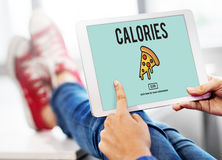 Pizza Icon Fast food Unhealthy Snacks Calories Fat Concept. Person calculating food calories on tablet Royalty Free Stock Images