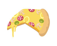 Pizza Icon in Flat Royalty Free Stock Photo