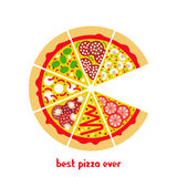 Pizza icon flat 2. Flat pizza icon. Vector pizza slices. Flat  pizza ingredients. Isolated pizza icon. Vector pizza icon. Vector fast food icon Royalty Free Stock Photo